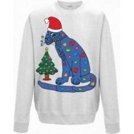 ABBA Blue Cat In A Christmas Hat Sweatshirt