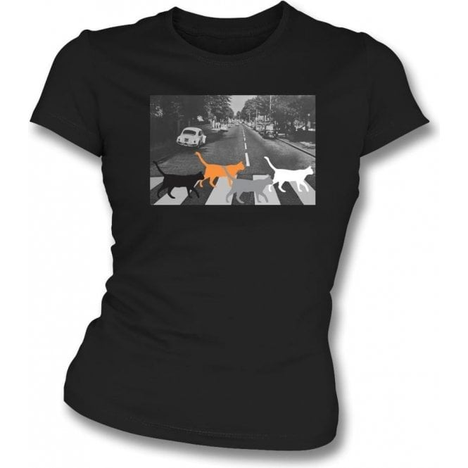 Abbey Road Cats Womens Slim Fit T-Shirt