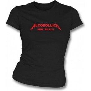 Alcohollica Womens Slim-Fit T-shirt