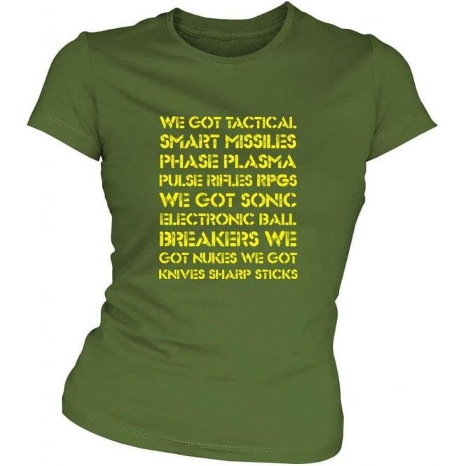 Aliens 'We Got Tactical Smart Missiles...' Movie Slogan Slim Fit T-shirt