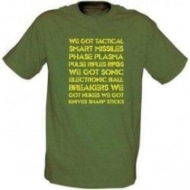 Aliens 'We Got Tactical Smart Missiles...' Movie Slogan T-shirt