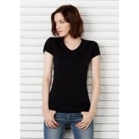 Baby Rib Short Sleeve V-Neck T-Shirt