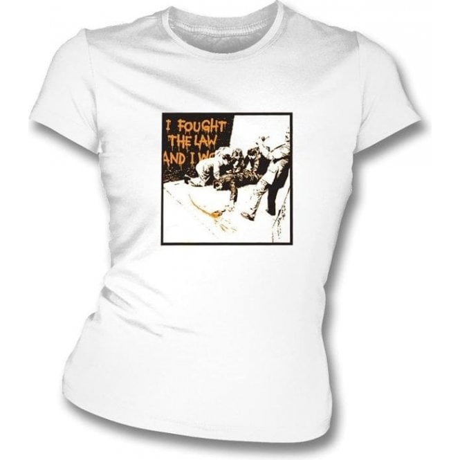 Banksy-I Fought The Law Womens Slimfit T-shirt