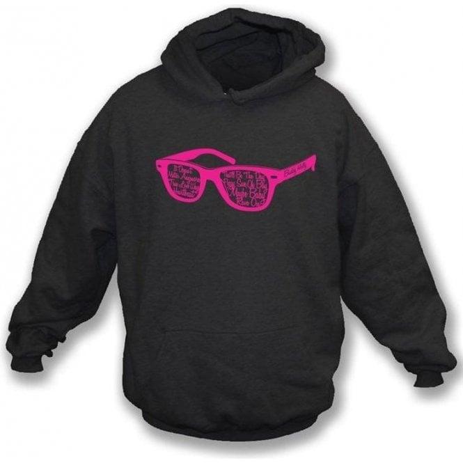 Buddy Holly Glasses Black Hooded Sweatshirt