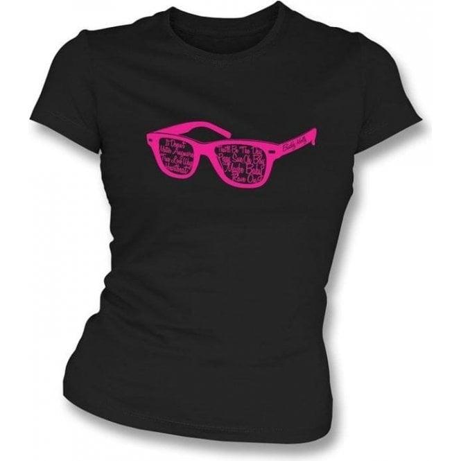 Buddy Holly Glasses Black Womens Slimfit T-Shirt