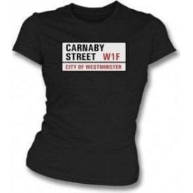 Carnaby Street Road Sign Womens Slim Fit T-Shirt