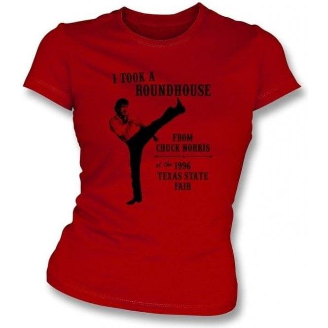 Chuck Norris Roundhouse Kick Womens Slimfit T-shirt