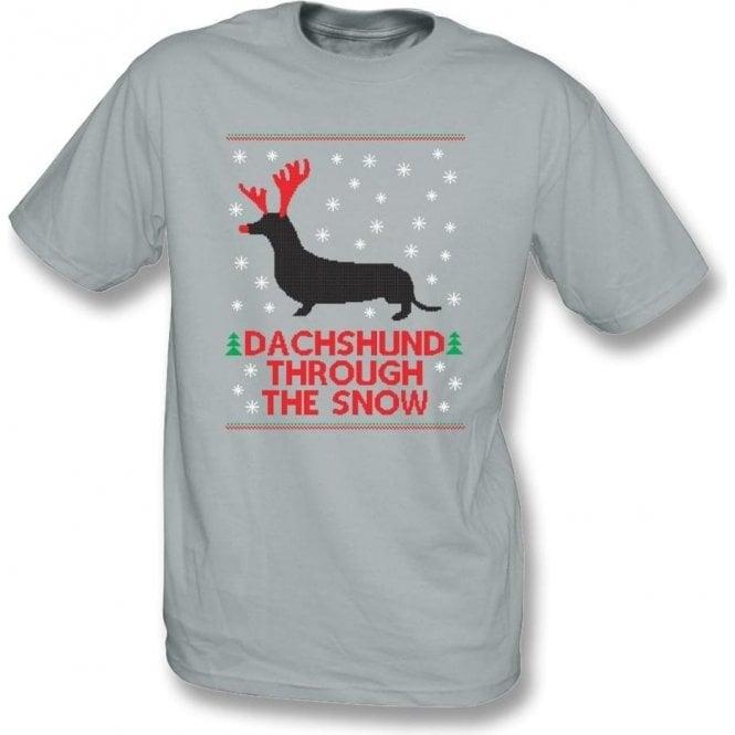 Dachshund Through The Snow Kids T-Shirt