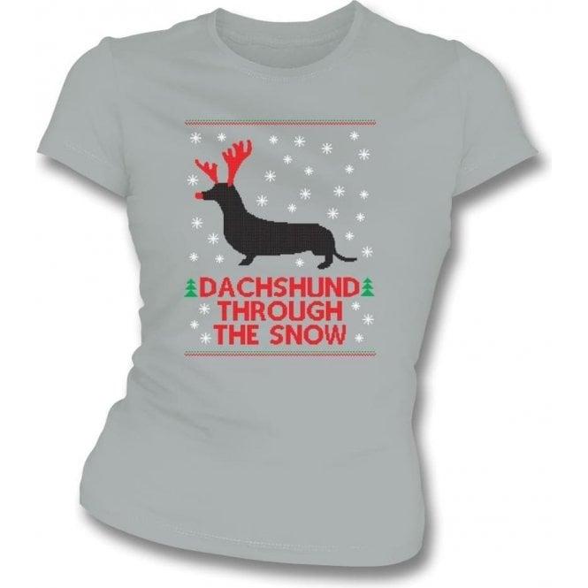 Dachshund Through The Snow Womens Slim Fit T-Shirt