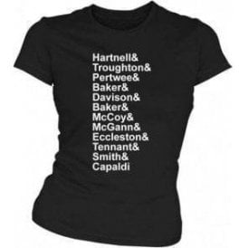 Dr Who Names Womens Slim Fit T-Shirt