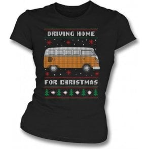 Driving Home For Christmas (VW Camper) Womens Slim Fit T-Shirt