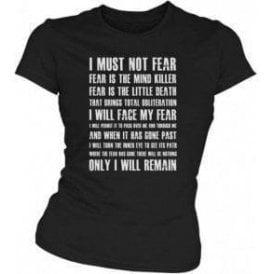 Dune 'Fear Is The Mind Killer' Movie Slogan Womens Slim Fit T-Shirt
