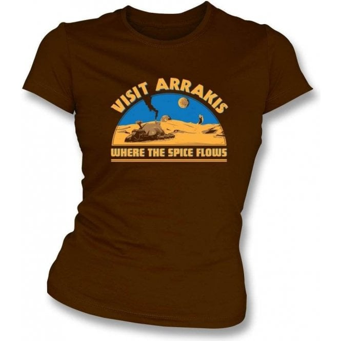 Dune Visit Arrakis 'Where the Spice Flows' Womens Slim Fit T-Shirt