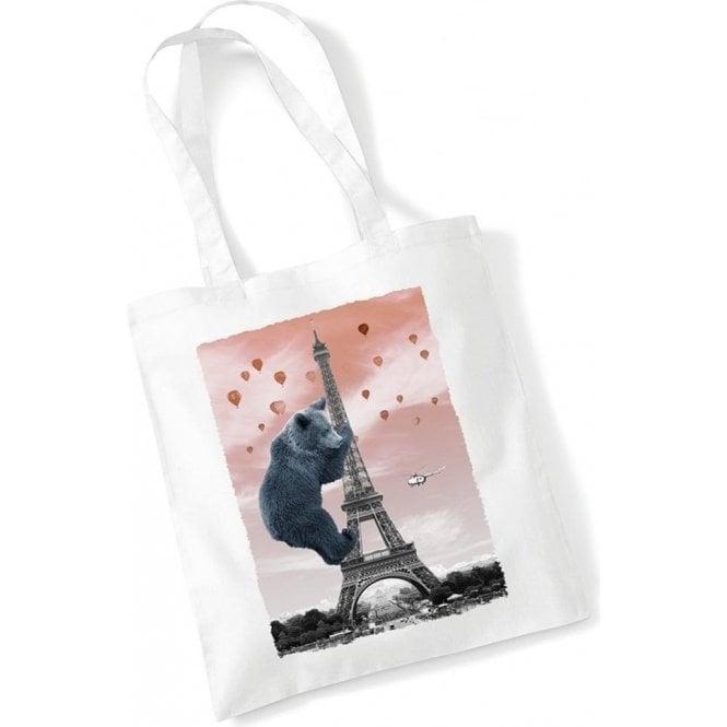 Eiffel Bear Long Handled Tote Bag