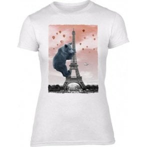 Eiffel Bear Womens Slim Fit T-Shirt