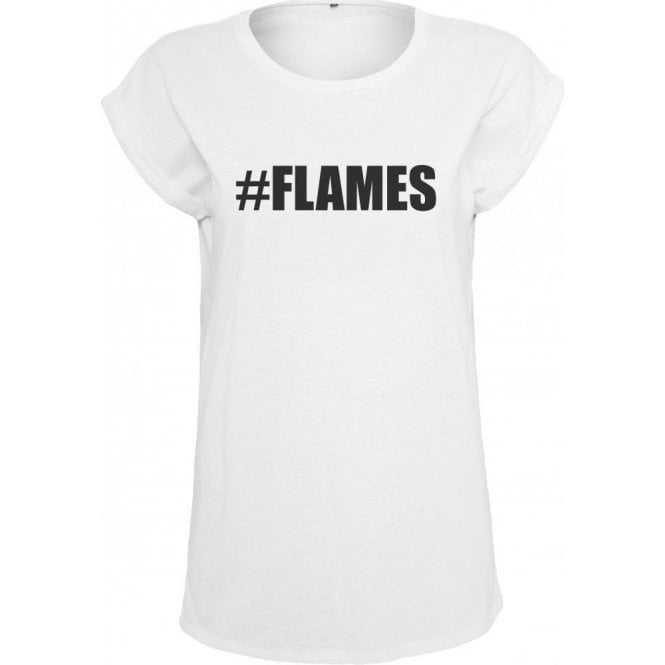 #Flames (Love Island) Womens Extended Shoulder T-Shirt