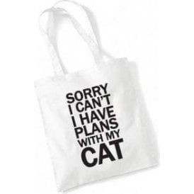 I Have Plans With My Cat Long Handled Tote Bag