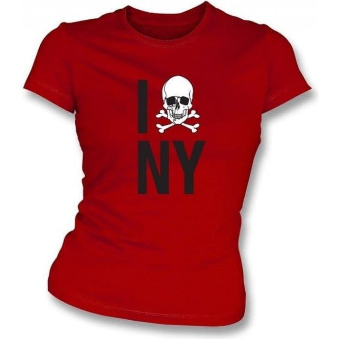 I Love New York Skull Womens Slimfit T-Shirt