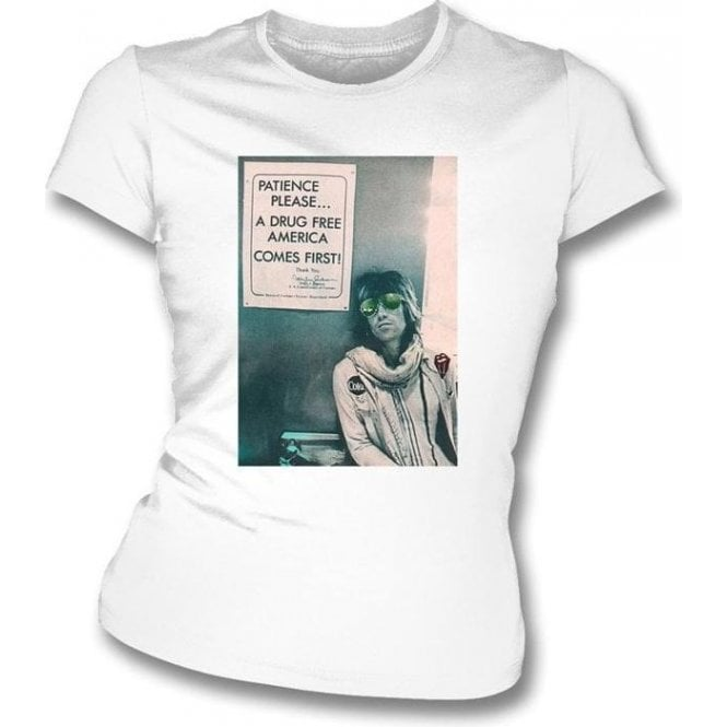 "Keith Richards ""A Drug Free America"" Photo Womens Slim Fit T-Shirt"