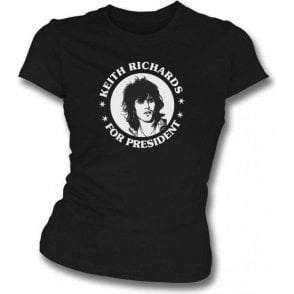 Keith Richards For President Black Womens Slim Fit T-Shirt