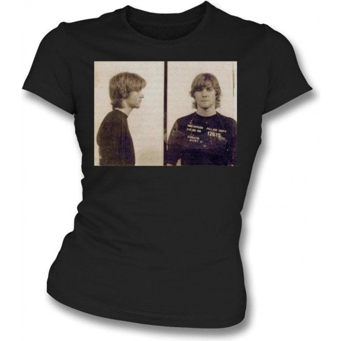 Kurt Cobain (Nirvana) Mugshot Womens Slim Fit T-Shirt