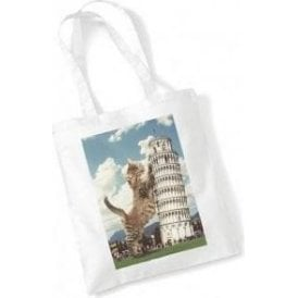 Leaning Tower Of Pisa Kitten Long Handled Tote Bag