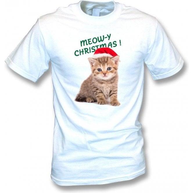 Meow-y Christmas! (White) Kids T-Shirt