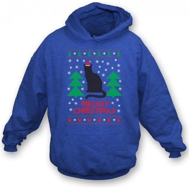 Meowy Christmas (Blue) Hooded Sweatshirt