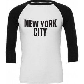 New York City (As Worn By John Lennon, The Beatles) 3/4 Sleeve Unisex Baseball Top