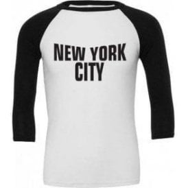 New York City (As Worn By John Lennon, The Beatles) 3/4 Sleeve Unisex Baseball Top