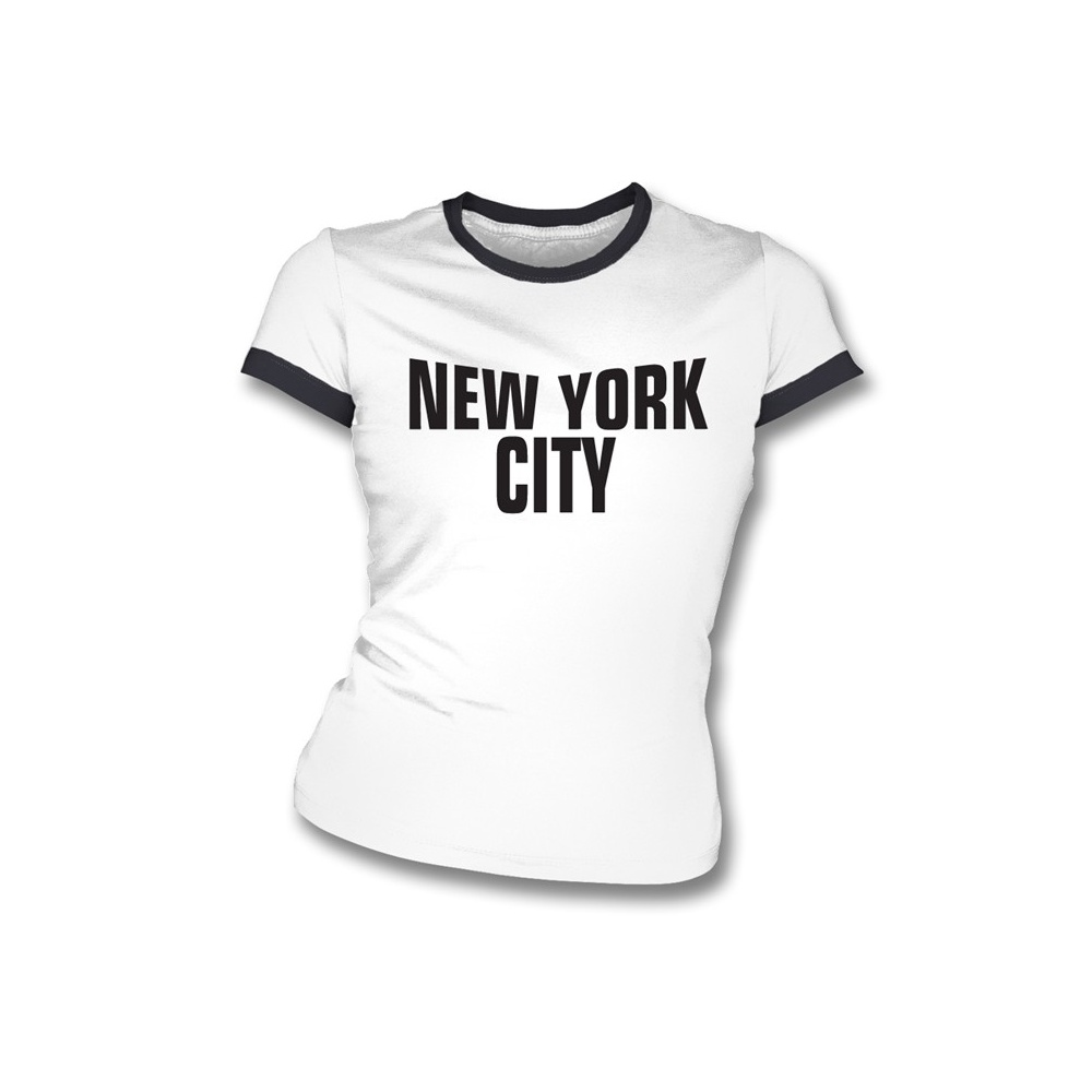 new york city as worn by john lennon girl 39 s slim fit t shirt. Black Bedroom Furniture Sets. Home Design Ideas