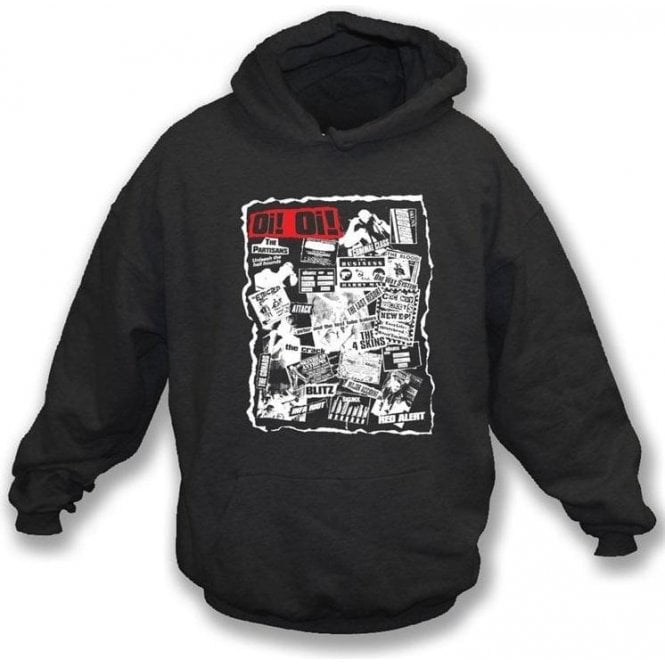 Oi Oi Punk/Skinhead 80's Collage Hooded Sweatshirt
