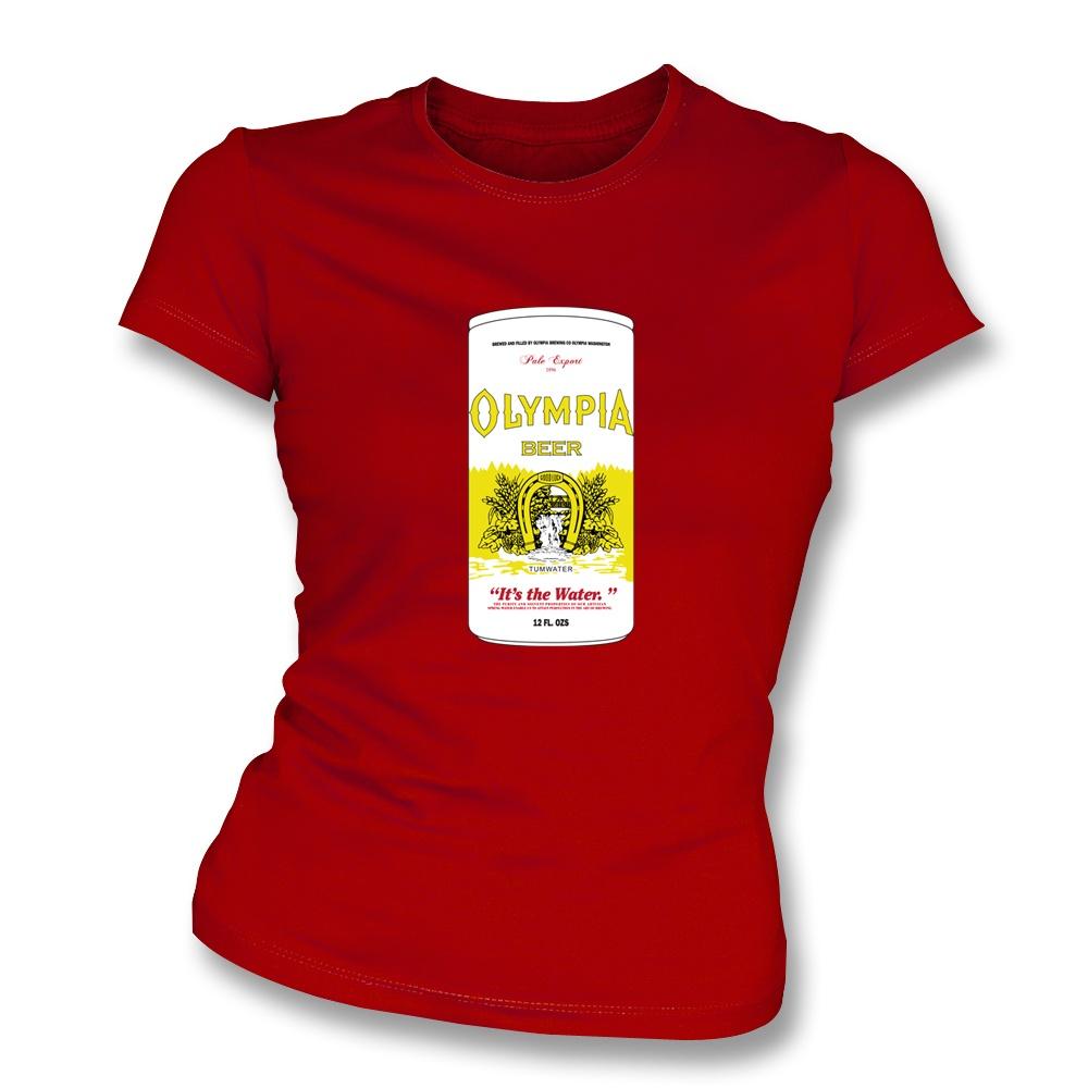 olympia beer as worn by kurt cobain nirvana women 39 s slimfit t shirt. Black Bedroom Furniture Sets. Home Design Ideas