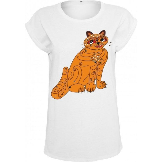 Orange Cat (As Worn By Anni-Frid Lyngstad, ABBA) Womens Extended Shoulder T-Shirt