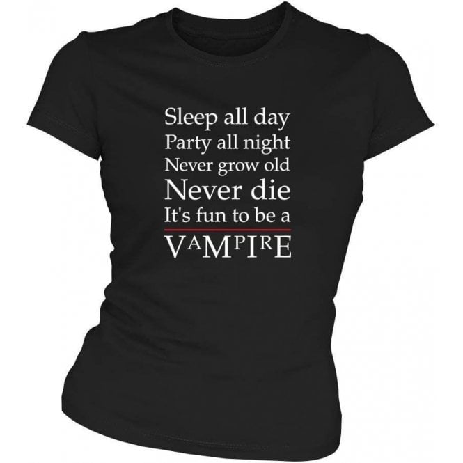 'Party All Night' (Inspired by The Lost Boys) Movie Slogan Womens Slim Fit T-shirt