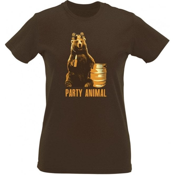 Party Animal Bear Womens Slim Fit T-Shirt