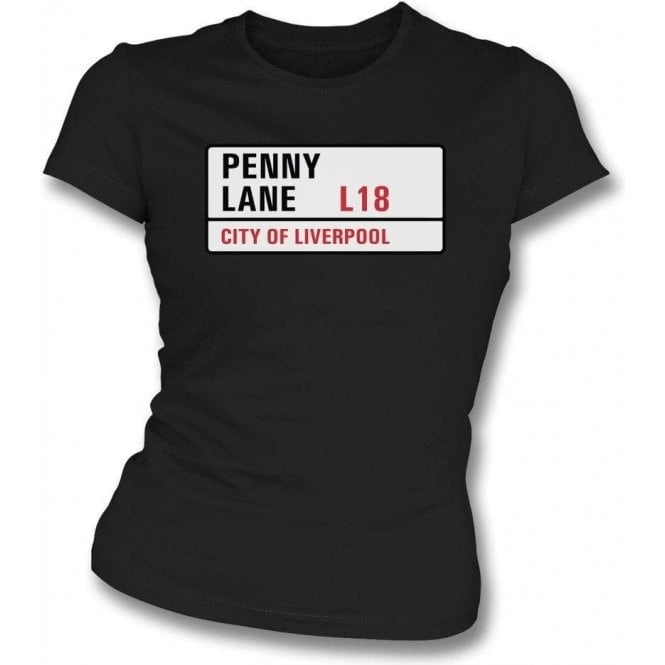 Penny Lane Road Sign Womens Slim Fit T-Shirt