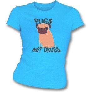 Pugs Not Drugs Womens Slim Fit T-Shirt