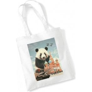 Red Square Panda Long Handled Tote Bag