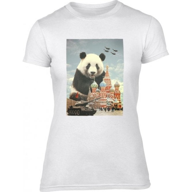 Red Square Panda Womens Slim Fit T-Shirt