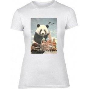 Red Square Panda Womens Slim Fit T-Shirt