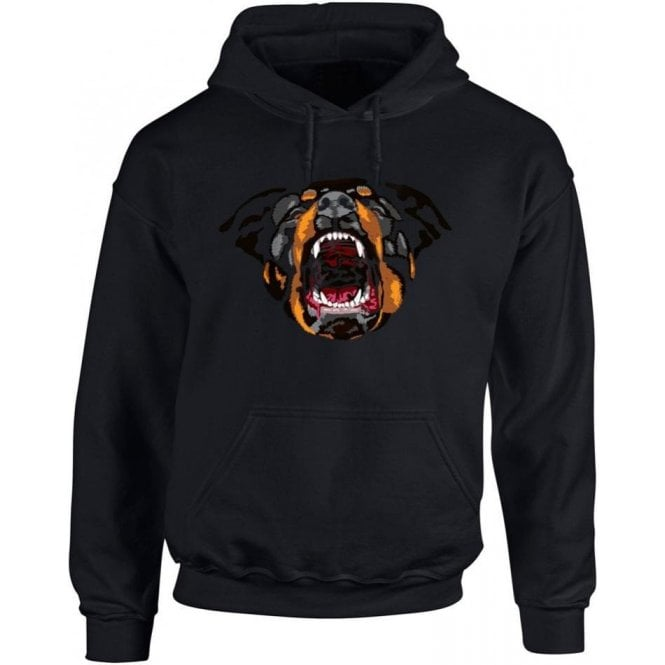 Rottweiler Face Hooded Sweatshirt