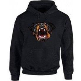 Rottweiler Face Hooded Sweatshirt