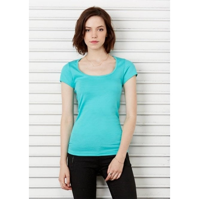Sheer Mini Rib Scoop Neck T-Shirt