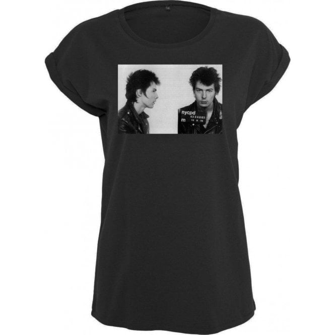 Sid Vicious (Sex Pistols) Mugshot Womens Extended Shoulder T-Shirt