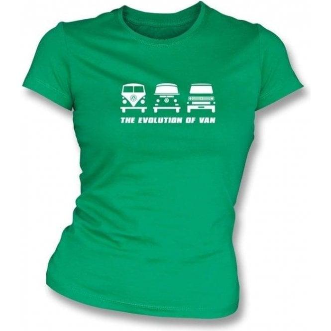 The Evolution of Van VW Campervan Womens Slimfit T-shirt