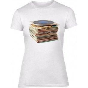 Vinyl Records Womens Slim Fit T-Shirt
